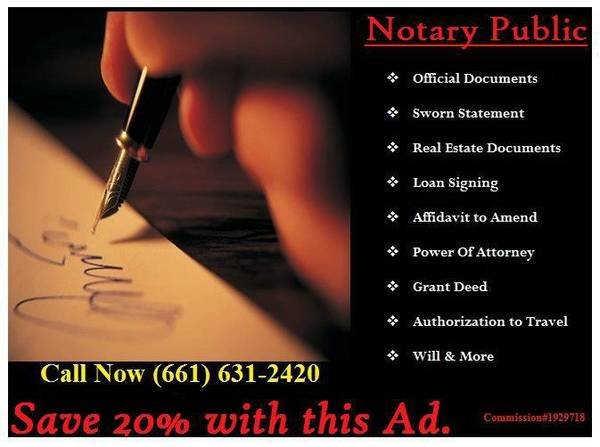 Notary Public On-site and Mobile (Bakersfield, CA )