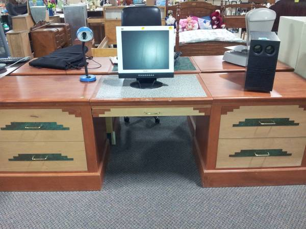 5 Drawer Wooden Desk - $100 (Valley Treasures Thrift Store)