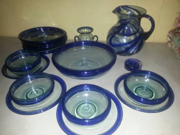Hand Blown Mexican Glassware Set - Clear with Cobalt Blue Accent - $100 (Meridian)