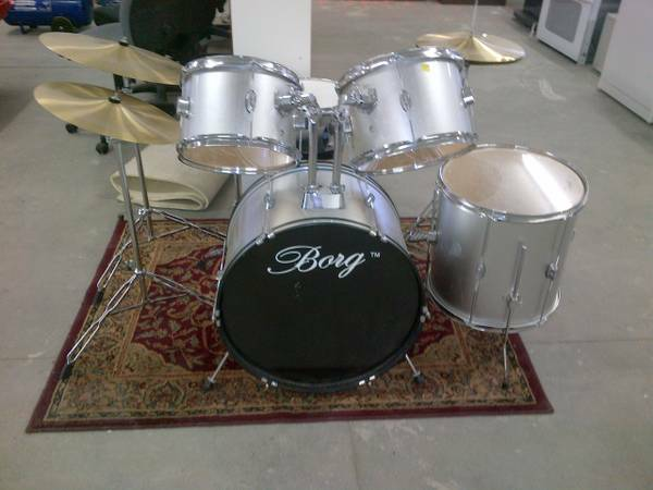 Drum Set by Borg, 5 Drums, 3 Symbols For Sale - $160 (Caldwell)