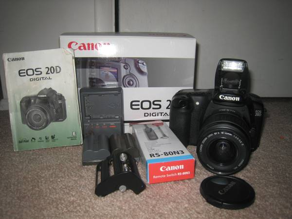 Canon 20D with 18-55 lens, Charger,  Remote Switch Extras - $225 (Sandy)