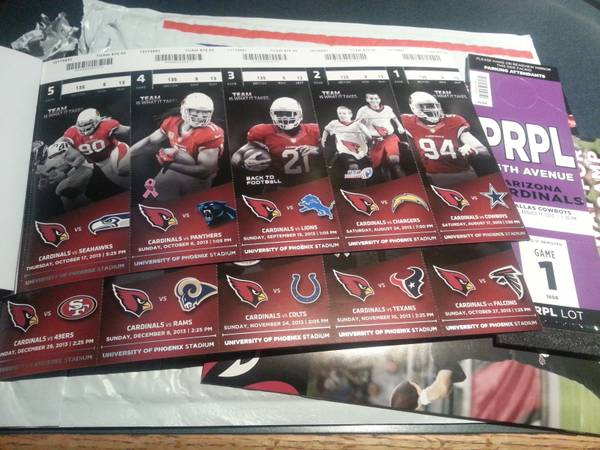 Arizona Cardinals Tickets For Sale - $125 (FLG)