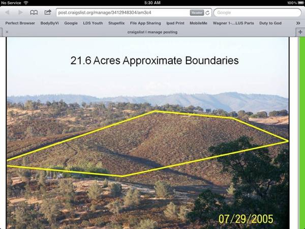 - $99000 21 acres by Lake Don Pedro (Lake Don Pedro, ca)