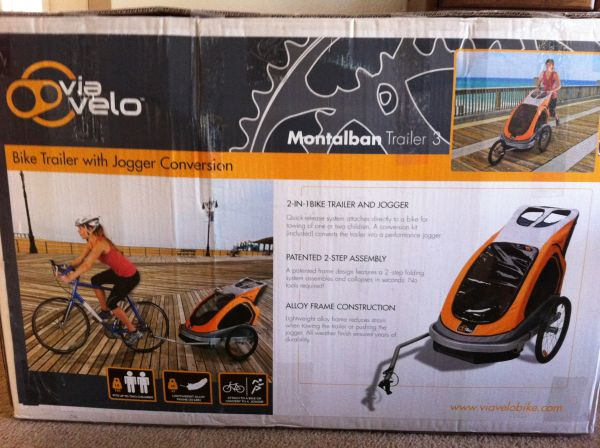 Montalban trailer 3 bike trailer with jogger conversion never used - $200 (Auburn, ca)