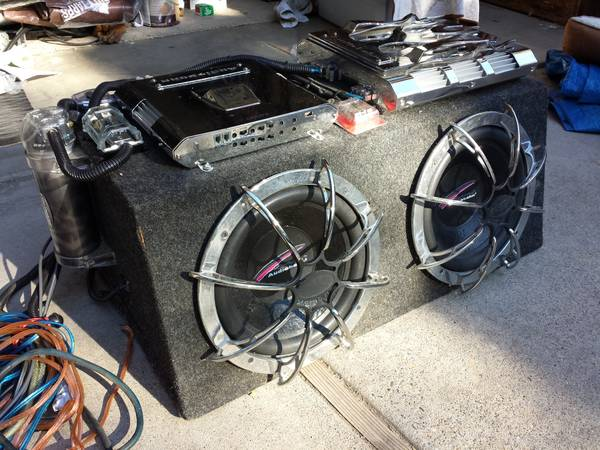 12 Subs, Class D Amp, 4-Channel Amp, Interior Speakers, All wiring - $1000 (Placerville)