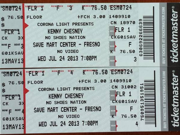 FLOOR 1ROW FKENNY CHESNEY 724 - $350 (Clovis)