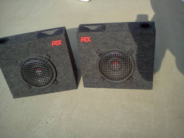 2 Slightly Used 8 MTX Boxed Truck Subwoofers w Tweeters - $100 (Hanford, Ca)
