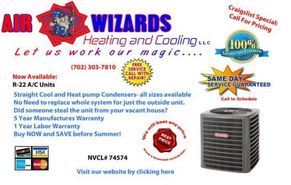 All R22 condensing units and heat pumps on sale now (Las Vegas)