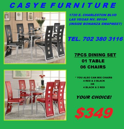 7PC GLASS TOP DINING SET. CHAIRS ARE AVAILABLE IN RED BLACK - $349 (CASYE FURNITURE)
