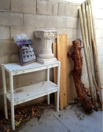 Lot of Building Materials wood Paving stone Sand White Shelf pillar - $25 (Silverado Ranch)