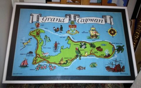 LARGE framed Grand Cayman Islands Linen Cloth Art Map made in IRELAND (Silverado Ranch)