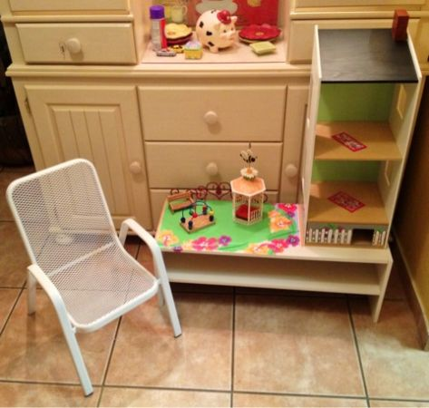 Custom Wood 3 pc Kids Play Activity Center Shelving Unit DOLL HOUSE CHAIR - $90 (Silverado Ranch)