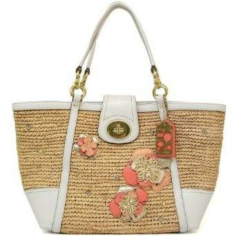 NEW Coach WEEKENDS HAMPTONS Straw Flower Applique Tote - White - $200 (Henderson)