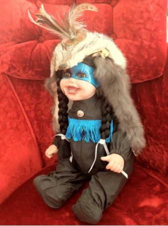 CINDY MARSCHNER 2ft tall Porcelain NAVAJO Indian DOLL FOX Fur Pelt HEADDRESS - $150 (Silverado Ranch)