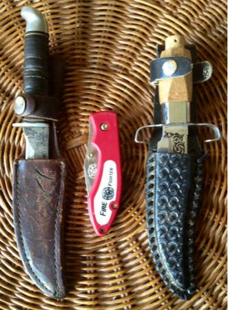 LOT of 3 UNIQUE hunting survival Knives in sheath J Bowie k-5 USA firefighter - $80 (Silverado Ranch)