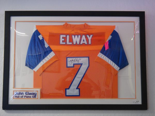 AUTOGRAPHED JOHN ELWAY JERSEY FRAMED W COA $400 OBO - $400 (CALL 702.202.1010)