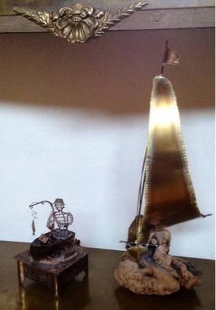 2 Hammered Brass Sculptures DriftWood SailBoat Fisherman Music Box - $65 (Silverado Ranch 89123)