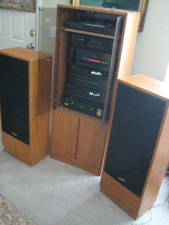 ONKYO COMPLETE STEREO SYSTEM WITH CASE AND 2 TALL ONKYO SPEAKERS - $225 (Las Vegas)