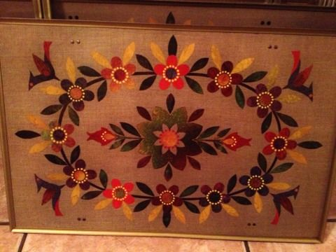 SET of 4 collapsible VINTAGE Floral Vine Bird Design TV trays - $50 (Silverado Ranch 89123)