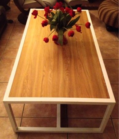 Retro 60s Ultra MODERN Coffee Crafting Game room TABLE Metal Wood - $90 (Silverado Ranch)