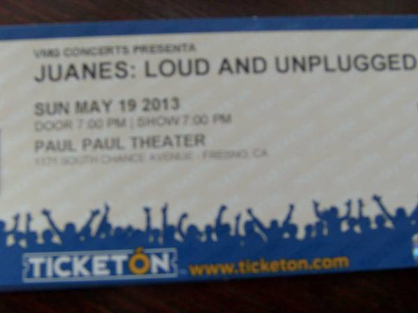 JUANES TICKETS FOR FRESNO CA FOR MAY 19 2013 - $60 (MERCED)