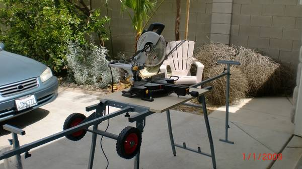 10 In. Sliding Compound Miter Saw AND Mobile Folding Power Tool Stand - $150 (North Merced)
