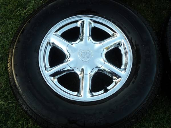 16 OEM 6 Lug Chrome GMChevy Cadillac Wheels Tires - $325 (Modesto)