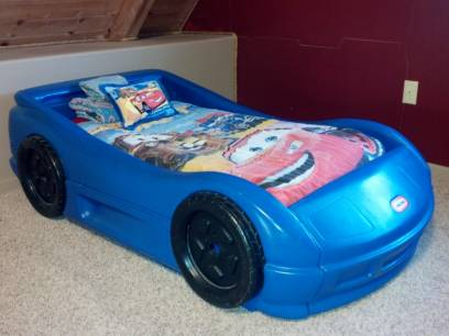 little tikes blue race car bed $80 - $80 (lake don pedro)