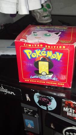 LIMITED EDITION Jigglypuff gold plated pokemon card unopened. - $30 (Merced, CA)