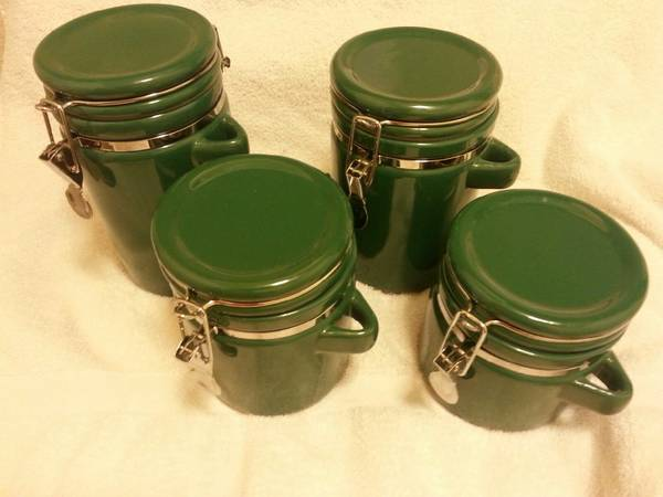 Forest GreenChrome Ceramic Canister Set of 4 - $10 (Merced)