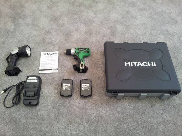 Hitachi 18 Volt Lithium Ion Cordless Drill w2 Batteries, Case More - $135