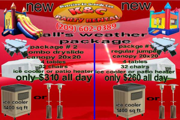 KC PARTY RENTAL NEW PACKAGE - $55 (MODESTO)