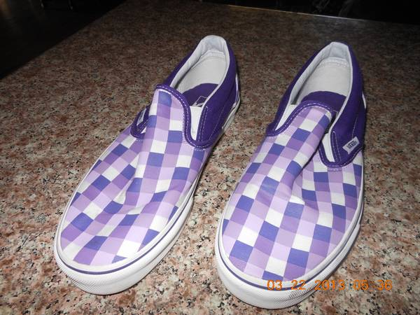 Purple Checkered Vans wns. 10.5, Mens 9 (reduced price) - $5 (Modesto)