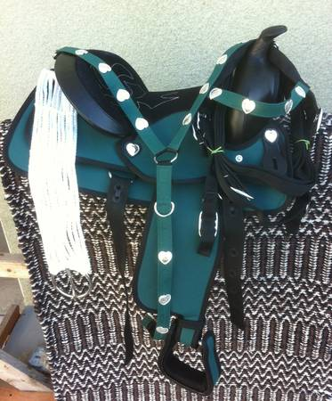 13 NEW DARK GREEN WESTERN SYNTHETIC YOUTH SADDLE PACKAGE - $99 (TURLOCK)