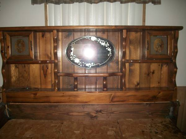 King Size Waterbed headboard pedestal (drawers) - $100 (Lake Havasu City)