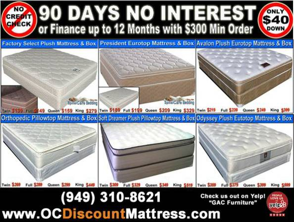 put your leftover $ in bank NOT Refurbished MATTRESS SETS - $139 (OC Delivery Avaialble,)