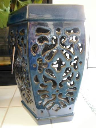 Deep Blue Earthenware Garden Stool-Inside of Out - $70 (Aliso Viejo)