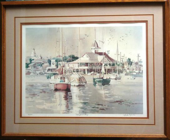 Newport Harbor, Bay, Nautical Framed Signed, Numbered Editions - $50 (OC)