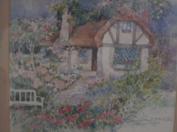 ART Dalina Darton Cottage Print 1987 Double matted 11 12 x 13 12 - $30 (Orange, CA)