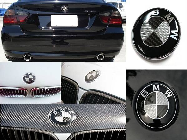 BMW Euro Style Black Carbon Fiber Emblems Wheel Caps 1 3 5 7 Series - $17 (OC)
