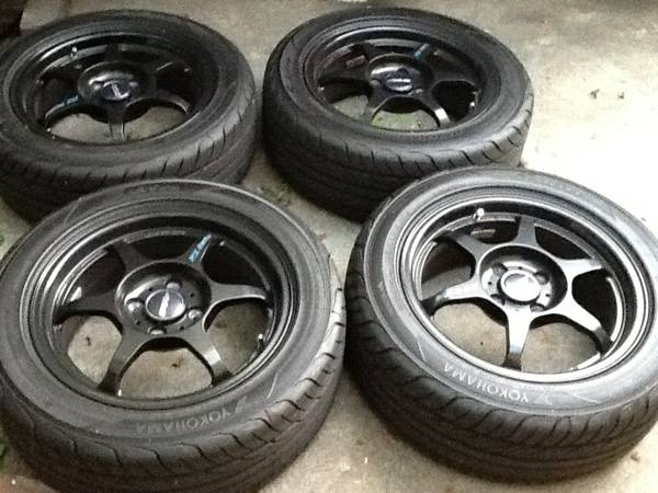 Buddy Club P1 Matte Black 15 special Edition w Yokohama S Drives - $850 (burbank)