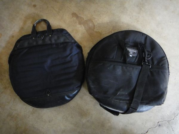 Drum Heads, Cymbal Bag, Cymbal and spring - $5 (Chino Hills)