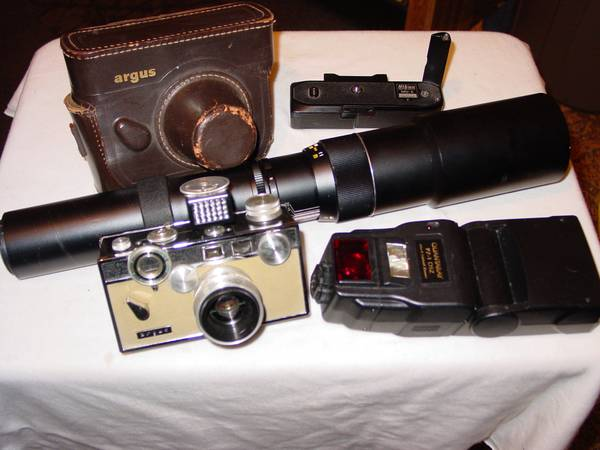 LOT (6) ARGUS C-3 CAMERA NIKON WINDER 500MM OLYMPUS AF LENS, FLASH - $39 (Orange County, Ca)