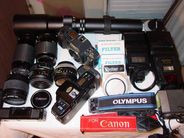 LOT (20-25 PIECES) NIKON OLYMPUS CANON. AF LENS, FLASH, WINDER, CAMERA - $49 (Orange County, Ca)