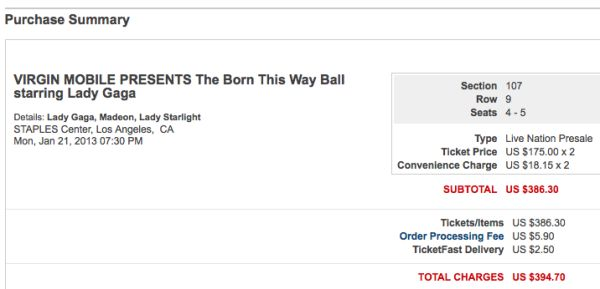 Lady Gaga Born This Way Ball tickets - Staples Center - REDUCED - $175 (Section 107, Row 9, Seats 4-5)
