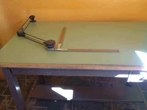 metal drafting table inc. drawing machine - $175 (Pioneertown)