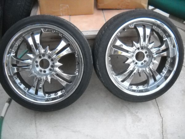 (two) 20 Chrome Rims (2) Wheels w Tires price reduced to - $100 (Cathedral City)