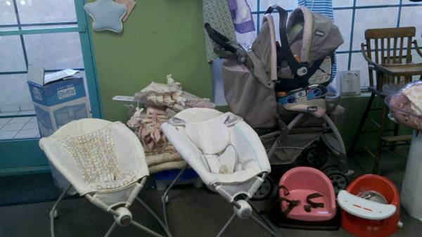Chicco Travel System, Rock Play, Booster Seats, Playpen more - $15 (Palm Deserts Silver Spoon)