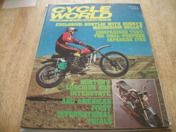 Cycle World April 1974 Husky mag,Norton 850 interstate,Jap 175 enduros - $10 (E.Mesa)