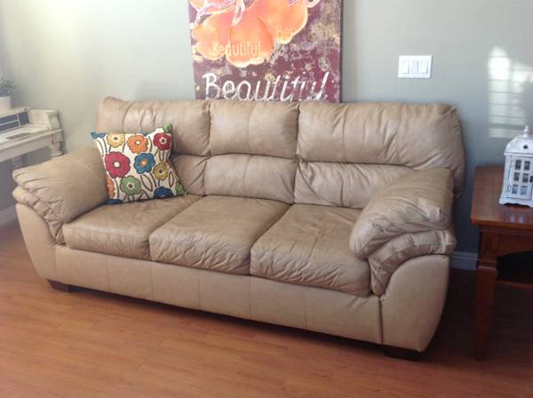 Tan Leather sofa end Table - $300 (Chandler)